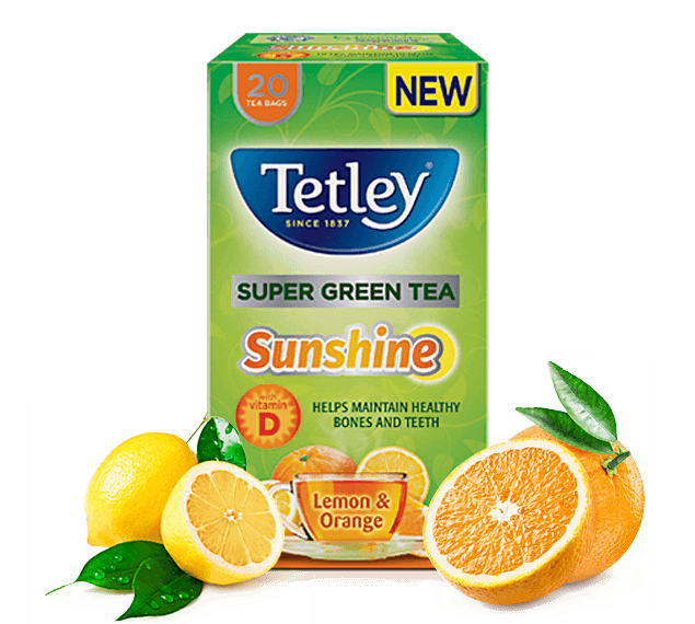 Tetley Super Green Tea Sunshine Lemon & Orange
